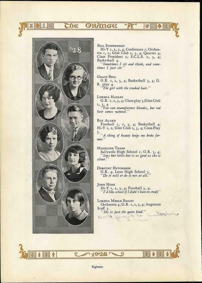 Stephenson WE August HS 1928