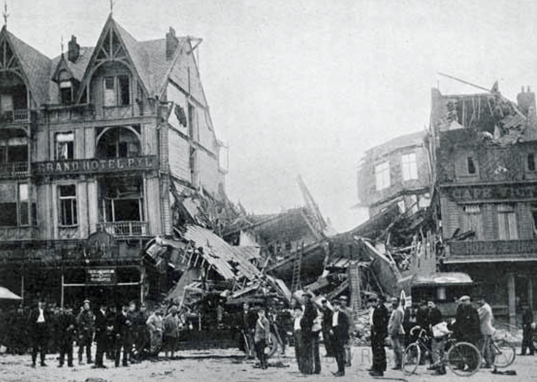 FAU Headquarters Dunkirk after bombing Aug 1918 Cadbury Research Library